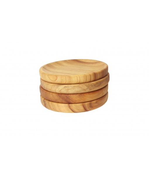 Medium Wooden Bowl Plates Stacked