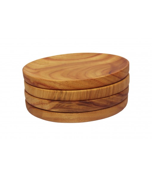 Large Wooden Bowl Plates Stacked