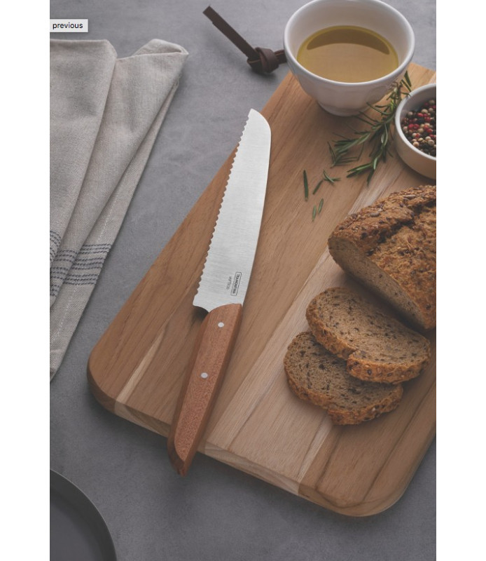 "Tramontina Verttice 8"" bread knife with stainless steel blade and natural wood handle"