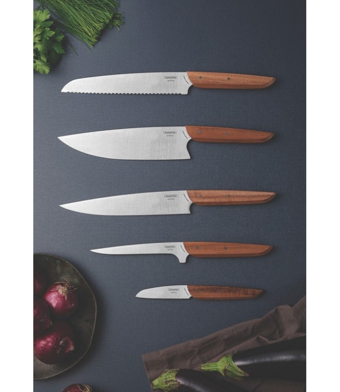 "Tramontina Verttice 8"" chef knife with stainless steel blade and natural wood handle"